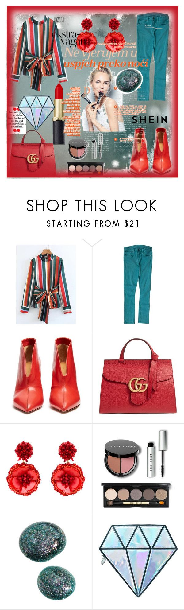 """shein"" by manusharma-ms ❤ liked on Polyvore featuring Helmut by Helmut Lang, Isabel Marant, Gucci, Mignonne Gavigan, Sephora Collection, Bobbi Brown Cosmetics and Unicorn Lashes"
