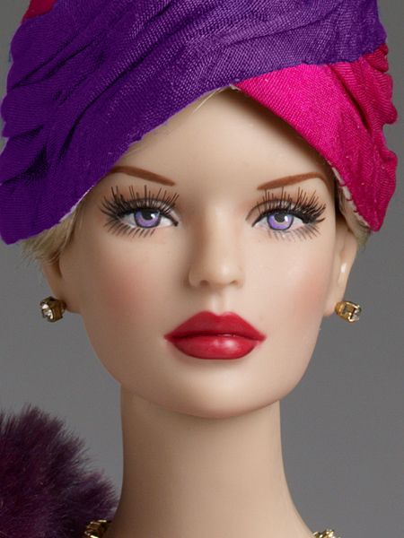 """$209.99 DeeAnna Denton """"Afternoon Cocktails"""" - Tonner Doll Company Dressed doll  Peggy Harcourt™ head sculpt  16"""" curvaceous body  Tyler skin tone  Purple painted eyes with applied eyelashes  Pale blonde rooted saran hair  Iridescent purple skirt  Iridescent purple and fuchsia top with gold studs  Pink and purple glove  Rhinestone bracelets  Rhinestone necklace  Rhinestone earrings  Nude pantyhose  #Pin2Win Purple faux suede shoes  Iridescent purple and fuchsia hat  Purple faux fur shawl  LE…"""