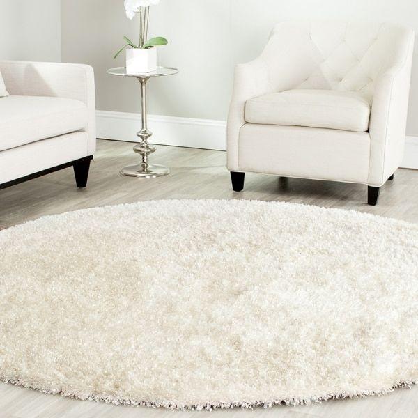 Safavieh Handmade Malibu Shag White Polyester Rug (5' Round)