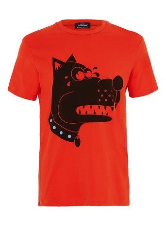 Red Pixel Dog Print T-shirt