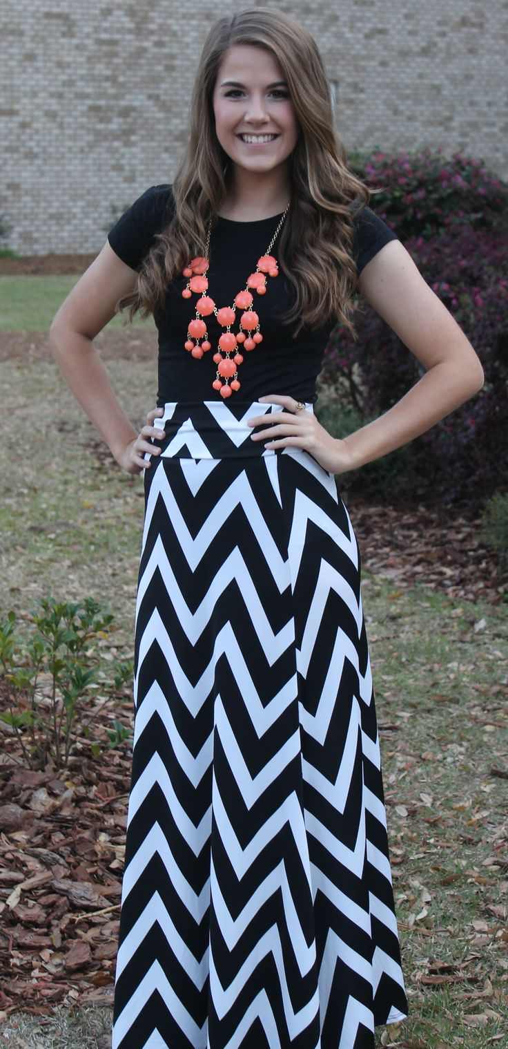 Black/White Chevron Maxi Skirt via Low Country Threads.  Like us on Facebook!