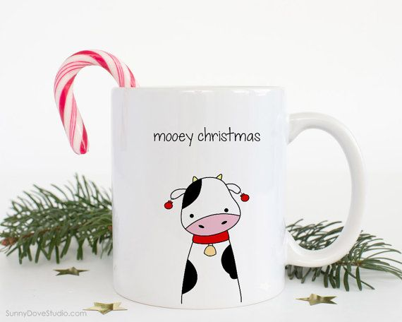 Christmas Mug Funny Gift For Friend Her Him Merry Mooey Christmas Cute Cow Pun Coffee Mugs Happy Holidays Holiday Gifts Ideas Fun Kawaii  Mooey Christmas...a fun gift for a friend, sister, brother, the pun lovers in your life, really anyone on your holiday list! Send this cute cow mug and spread some smiles this holiday season! She also makes a fun treat for yourself, a sweet addition to any daily coffee routine!  Design is printed on both the front and back so its cute face can be seen no…