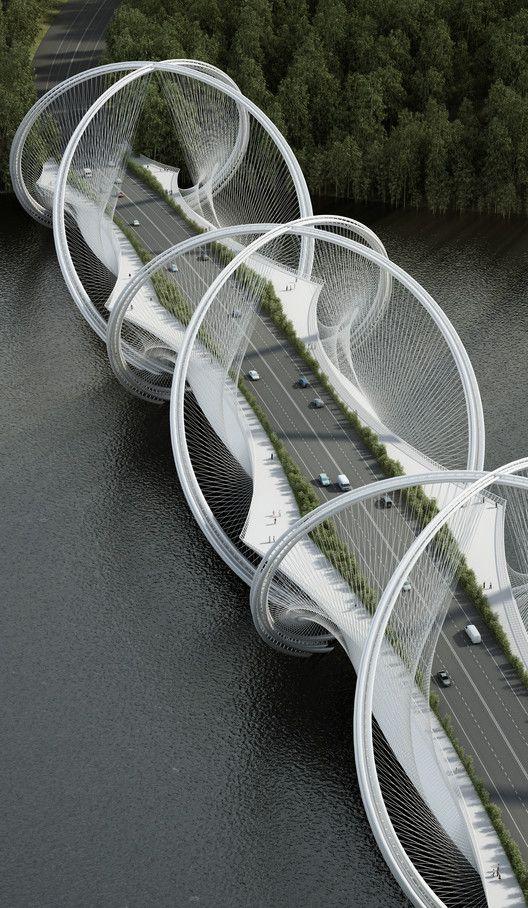 Penda diseña este puente en Beijing inspirándose en los anillos olímpicos,Cortesía de Penda