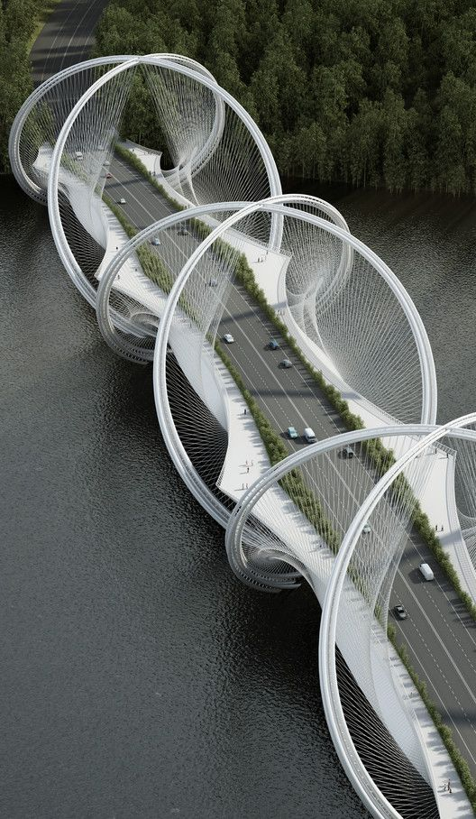 Penda Designs Bridge Inspired by Olympics Rings for 2022 Beijing Winter Games,Courtesy of Penda