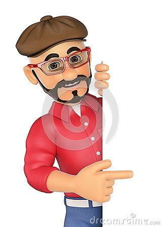 Cartoon Illustration about 3D Alternative man pointing aside. Blank space