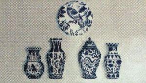 Verfsjabloon Delfts blauwe vazen