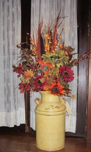 Old Milk Can Autumn Arrangement Milk Cans Milk Cans