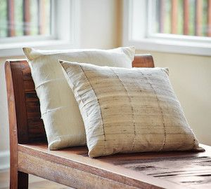 Raw Silk Stripe Pillow- Hand made from raw silk by artisans in Cambodia. Beautiful, simplistic and an impactful purchase that gives back to artisan communities. #artisanconnect