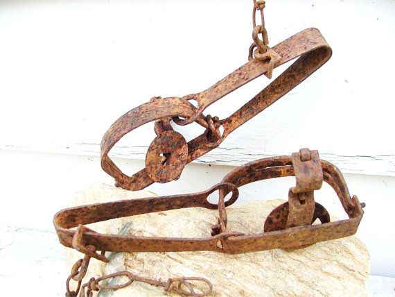 Vintage Rusty Animal Traps Fur Trapping Rustic Cabin Decor Rustic Cabin Decor Rustic Cabin Animal Traps