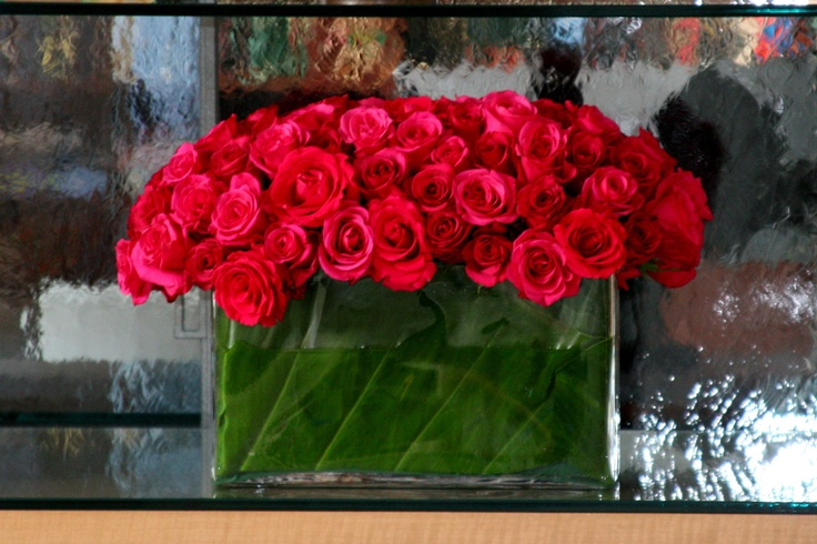 Large Red Rose Flower Arrangement by Belle Fleur florist in NY.  B Lee Events NYC Party and Event planners.