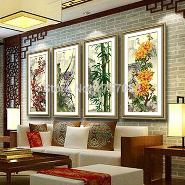Arte do mosaico needlework 5D DIY diamante pintura ponto cruz flor de ameixa bambu orquídea imagem strass colar bordado artesanato