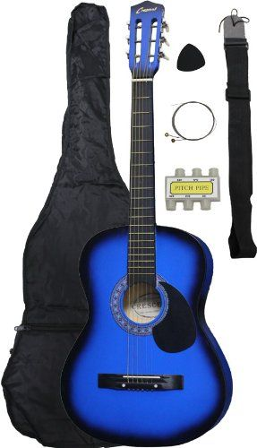 Beginner 38 Inch Blue Acoustic Guitar with Gig Bag and Accessories - http://www.learntab.com/guitar-deals/beginner-38-inch-blue-acoustic-guitar-with-gig-bag-and-accessories/