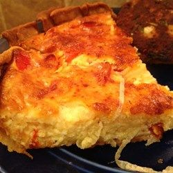 Vidalia Onion Pie, use large half-baked pie crust, line with Swiss cheese