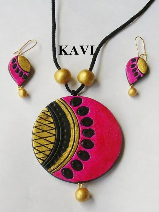 Terracotta jewelry painted on pink https://www.facebook.com/KavisTerracottajewellery