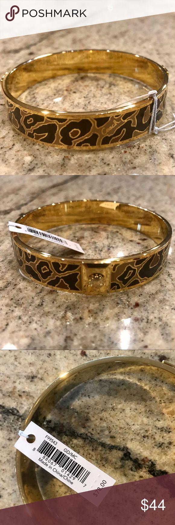 Coach gold ocelot bracelet Coach gold plated metal enamel ocelot bracelet NWT Coach Jewelry Bracelets