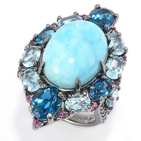 1a0d5fba2 168-798 - Victoria Wieck Collection 18 x 13mm Oval Larimar & Multi Gem Halo  Ring