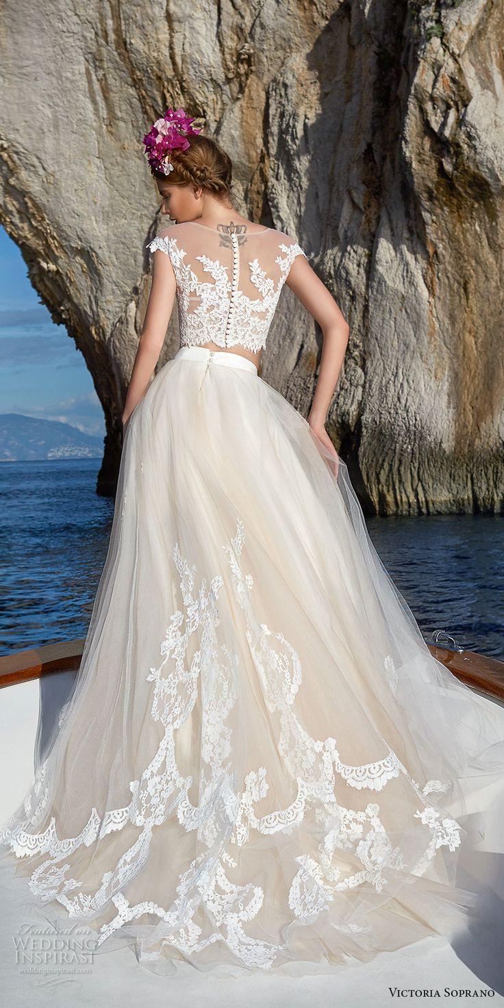 victoria soprano 2017 bridal cap sleeves illusion jewel neck heavily embellished bodice crop top 2 piece romantic a  line wedding dress sheer lace back chapel train (1) bv -- Victoria Soprano 2017 Wedding Dresses