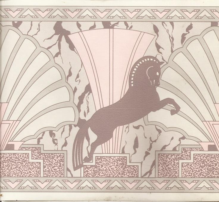 Horse unicorn Grecian Art deco flower wallpaper border