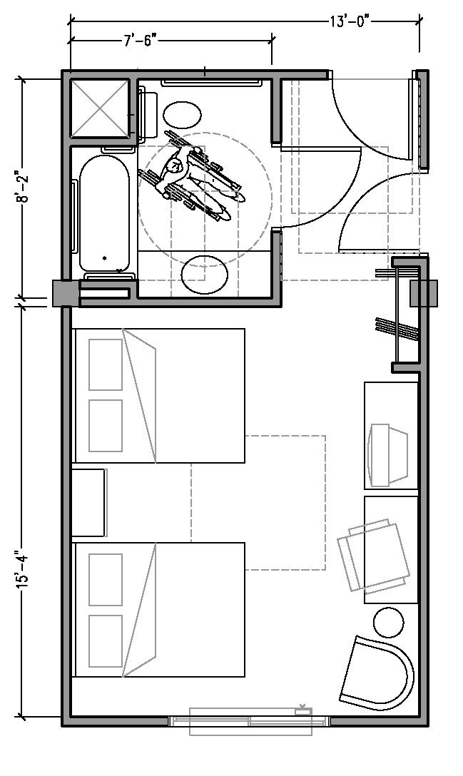 Hotel Room Blueprint: PLAN 1b: ACCESSIBLE 13 Ft Wide Hotel Room Based On 2004