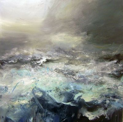 Janette Kerr, 'Beyond the Rock Arch, Porth Ledden', oil on canvas, 92 x 92cm