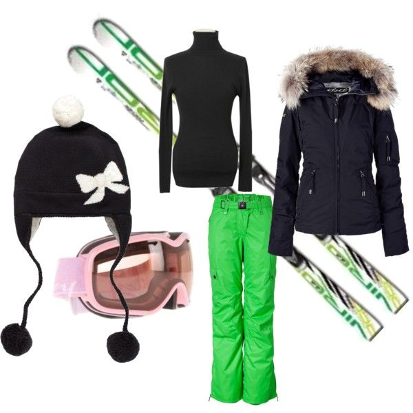 Super cute ski outfit, but with pale teal ski pants!!!