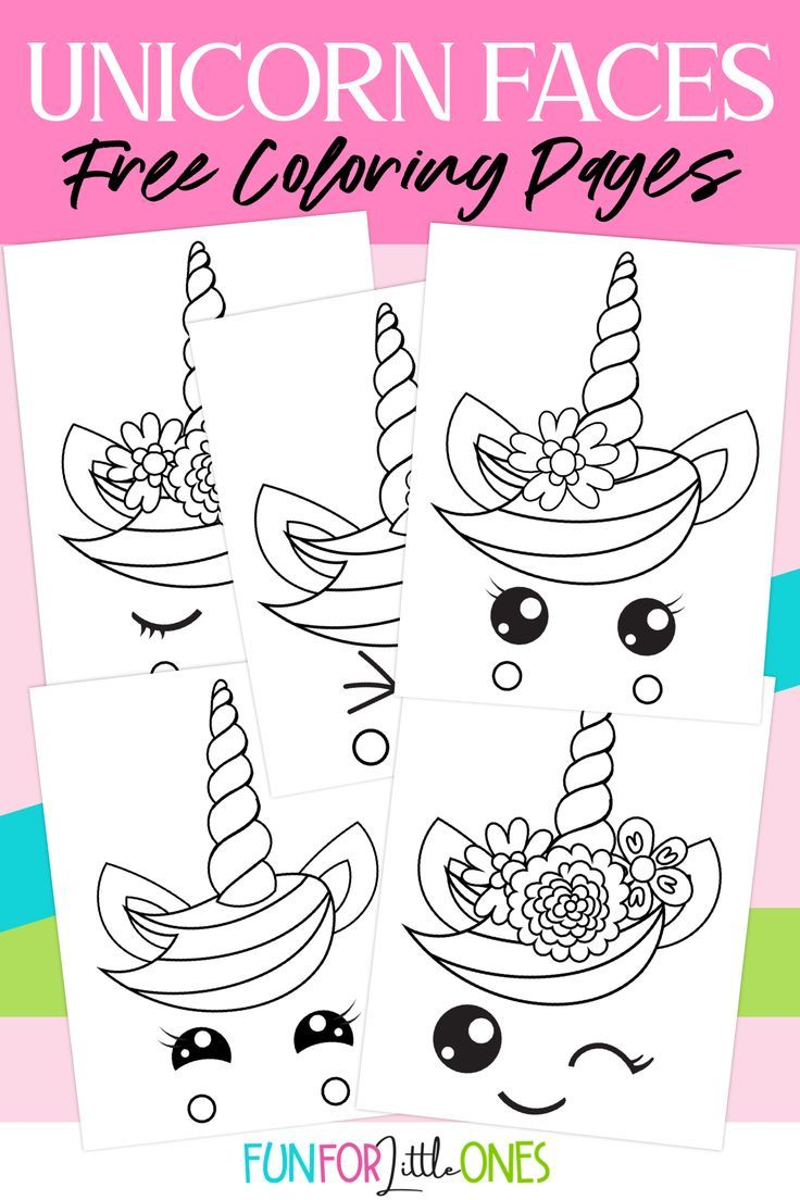 Unicorn Faces Coloring Pages for Kids Unicorn coloring