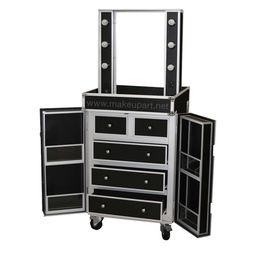PresDual-Sided Studio Makeup STATION w/ Lights, Mirror, Wheels - Black -- Makeup Artist Network Online Store