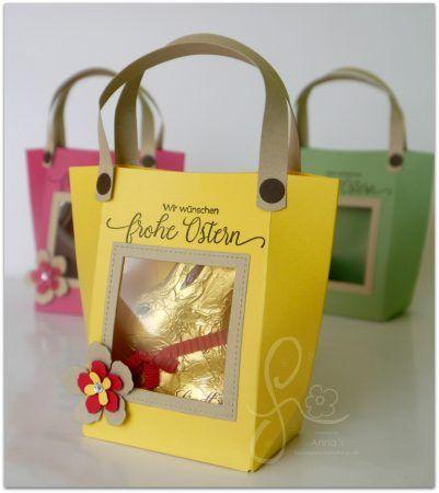Verpackung für Ostern mit Sichtfenster und Lindt Hase. Stampin' Up! Bastelglanz. Frohe Ostern