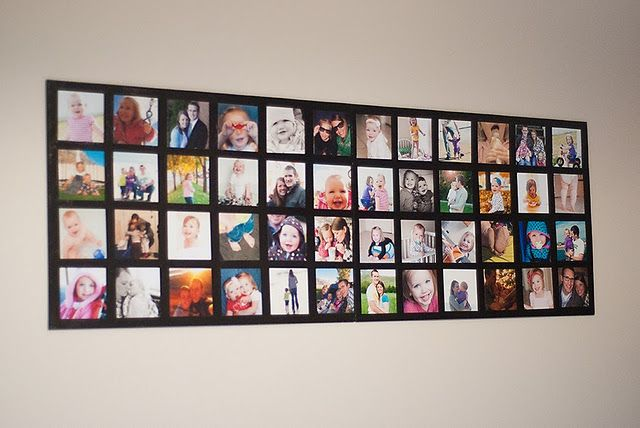 DIY wall picture collage.  Super simple and less expensive alternative to framing every picture.  You'll need:  *Pictures you want to use  *2 20x30 foam core boards  *Foam Brush  *Mod Podge  *Double sided tape   1. Draw out a plan and lightly outline picture placing on foam board.  2. Cut pictures into 4 inch squares and tape down.  3. Apply even coat of Mod Podge and let dry.
