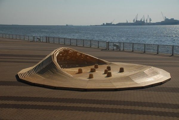 Crater Lake is a Parametric designed Wooden Pavilion in Kobe / 24° Studio
