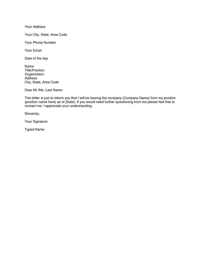 easy resignation letter template | Textpoems.org