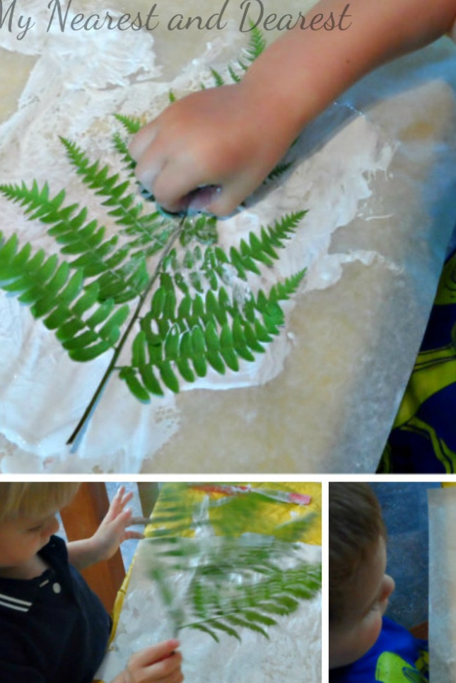 Printing with Ferns - Kids art