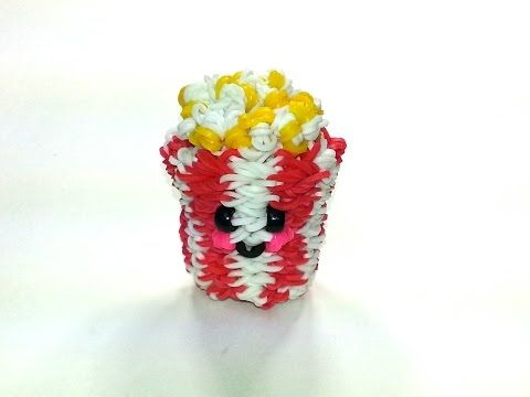 3-D Happy Popcorn Tutorial by feelinspiffy (Rainbow Loom). Omg so cute! Will be making this one!