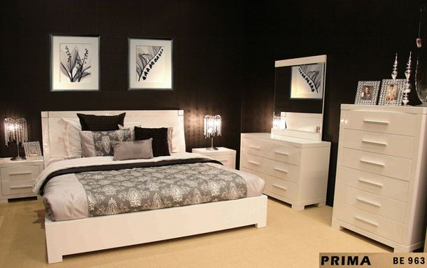 PRIMA KING 3 PIECE BEDSIDE BEDROOM SUITE - HIGH GLOSS WHITE