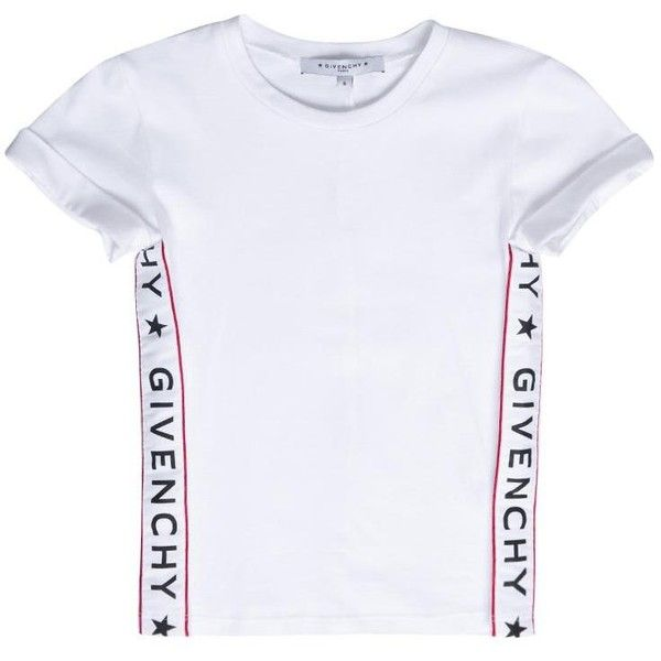 Givenchy Logo cotton t-shirt (1 235 SEK) ❤ liked on Polyvore featuring tops, t-shirts, shirts, white, logo t shirts, white short sleeve t shirt, t shirts, white t shirt and givenchy t shirt