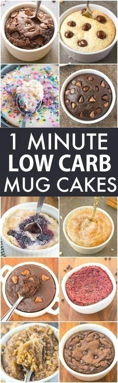 Low Carb Healthy 1 Minute Mug Cakes, Brownies and Muffins (V, GF, Paleo)- Delicious, single-serve desserts and snacks which take less than a minute! Low carb, sugar free and more with OVEN options too! vegan, gluten free, paleo recipe- thebigmansworld.com