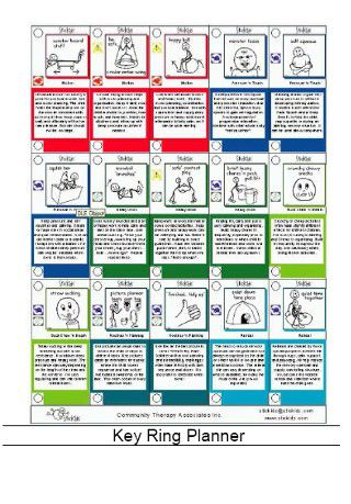 Key Ring - provides a series of small activity picture cards, which quickly adapt from a compact portable planner to fun therapy game cards;