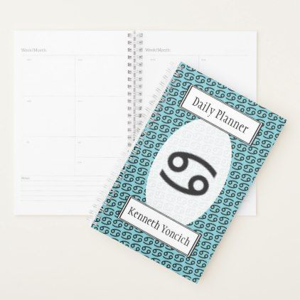 Cancer Zodiac Symbol Standard by Kenneth Yoncich Planner - #customizable create your own personalize diy