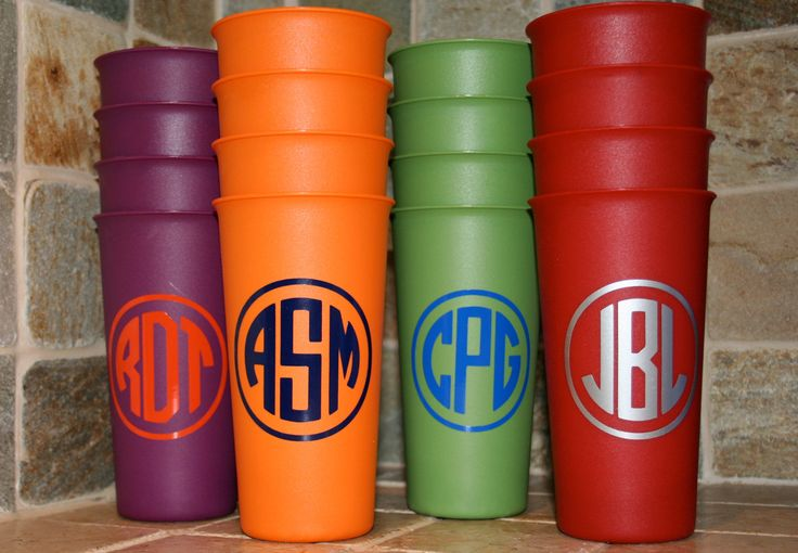 Personalized Cups - set of 4 tumblers. $11.50, via Etsy.