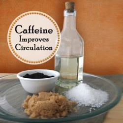 DIY Cellulite Scrub Coffee Scrub ½ Cup of Fresh Ground Coffee ¼ Cup of Sea Salt ¼ Cup of Brown Sugar ¼ Cup of Sweet Almond Oil or Olive Oil Mix well, store in airtight clean jar with a lid in a cool dark place