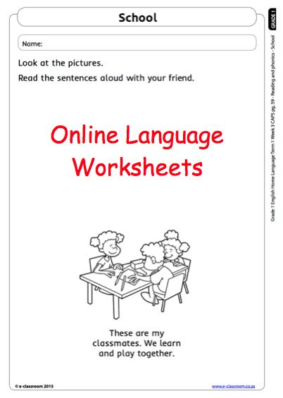 Grade 1 Online Reading Worksheets English Language. For more visit www.e-classroom.co.za!