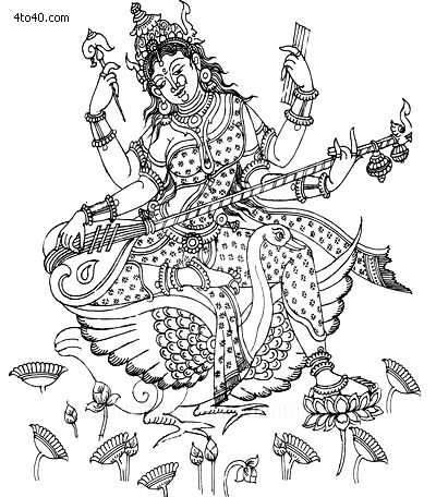 The Goddess Saraswati, with her Swan.  Religions Coloring Pages, How To Draw Goddess Saraswati Coloring Page, Religions Coloring Book