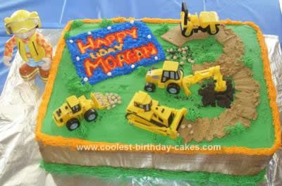 Homemade Bob the Builder Birthday Cake: My son really wanted a Bob the Builder cake for his 3rd birthday, so I searched this site to get some ideas for a Bob the Builder Birthday Cake. I combined