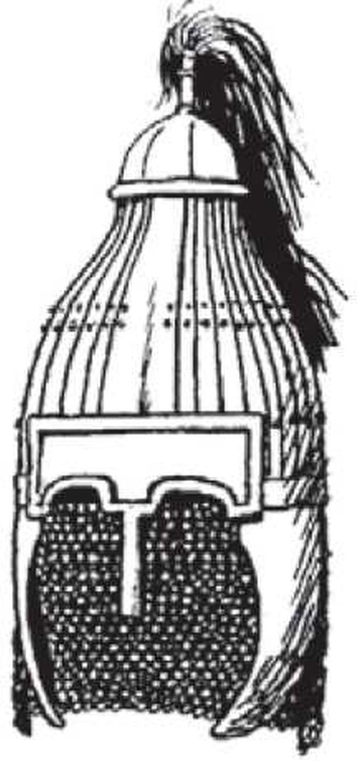 Реконструкция (О. Гамбера) шлема бисферической («кеглевидной», «грушевидной») формы, ламинарной конструкции. VI—VII вв. Нидерштётцунген, Южная Германия,
