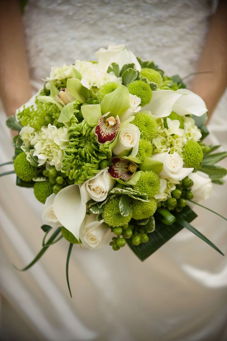 Bridal Bouquet - White and green flowers, cymbidium orchids, white roses, white calla lilies, green hydrangea, green shamrock mums, green berries