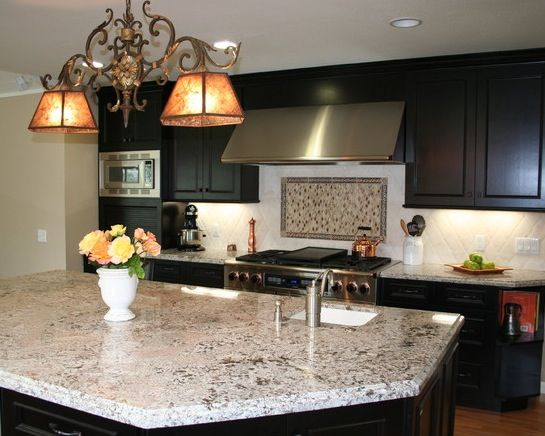 dark cabinets bianco antico granite perfect combination definitely still want lighter floors kitchen pinterest granite lights and kitchens