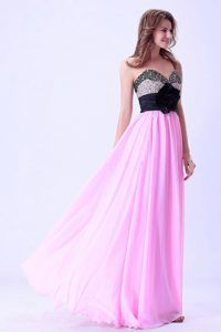 Pink and Black Sweetheart Beaded Prom Dress with Hand Made Flower