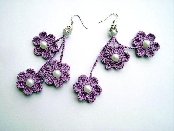 earrings - crochet flower -flot -brinco - roxo lilás - pérola