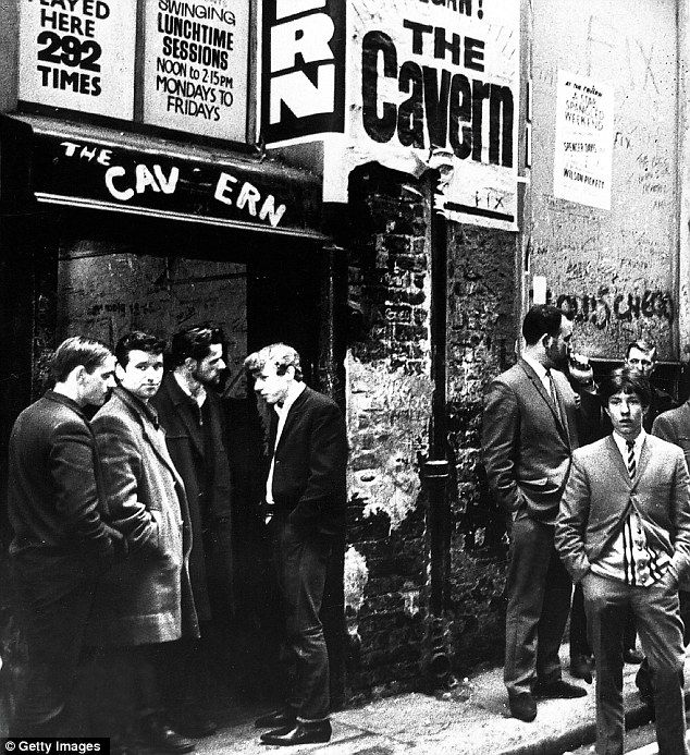 Music fans waiting outside the famous Cavern Club music venue in Liverpool, where The Beatles had a residency in the early 1960's