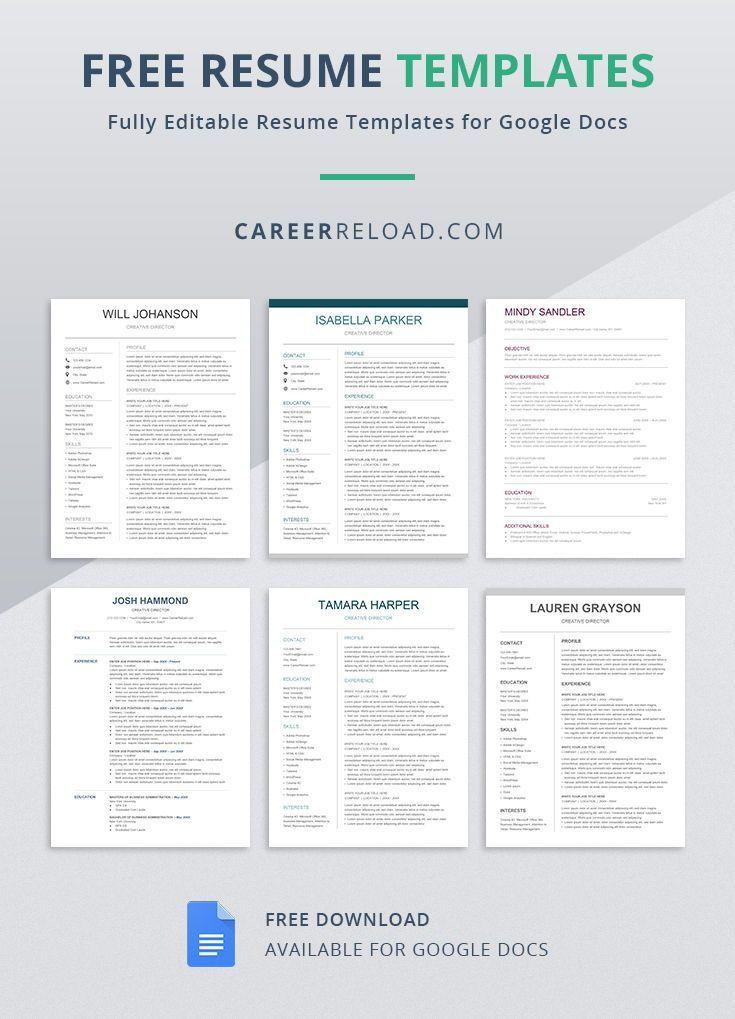 Free resume templates for google docs free resume